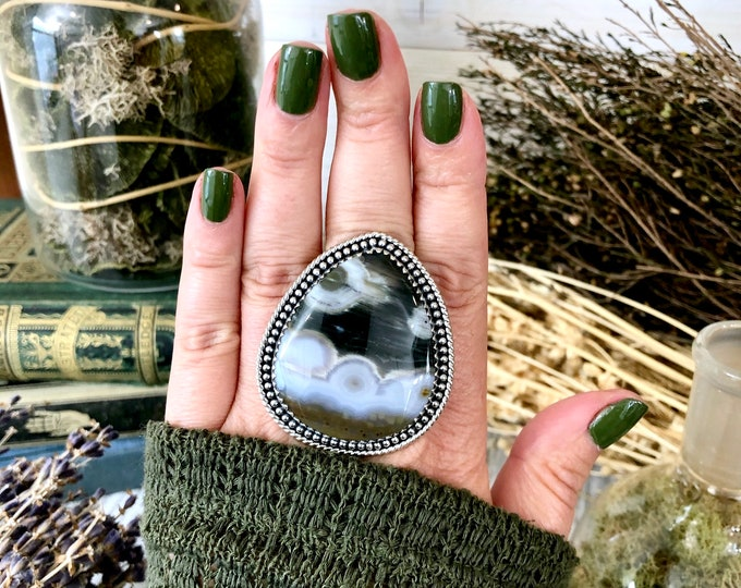 Size 9 Ocean Jasper Statement Ring Set in Sterling Silver  / Curated by FOXLARK Collection