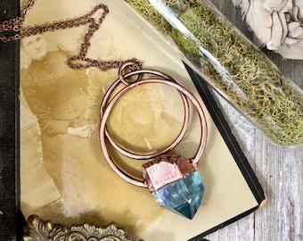 Blue Aqua Aura Quartz Crystal Necklace / Large Raw Crystal Jewelry / Bohemian Statement Pendant