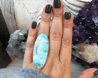Larimar Statement Ring Set in Sterling Silver Adjustable from size 6-9 / Curated by FOXLARK collection