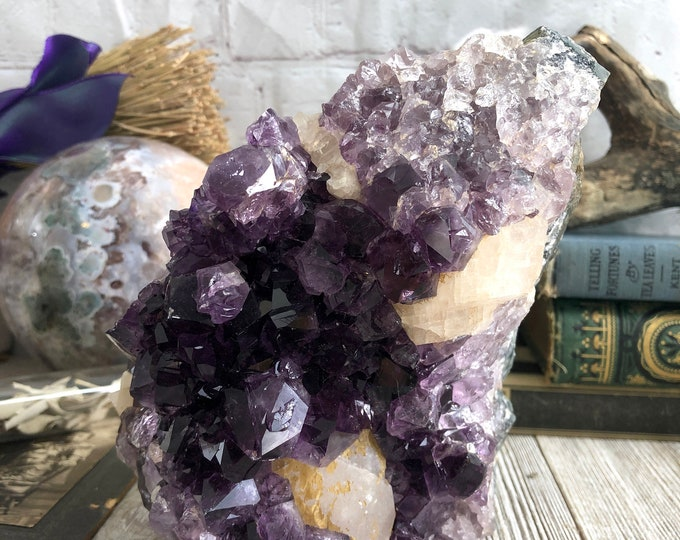 Large Amethyst and Calcite Cluster Raw Purple Crystal Cluster