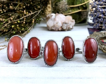 Red Carnelian Ring in Silver