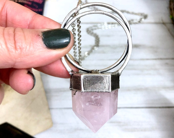 Silver Crystal Necklace Rose Quartz Necklace