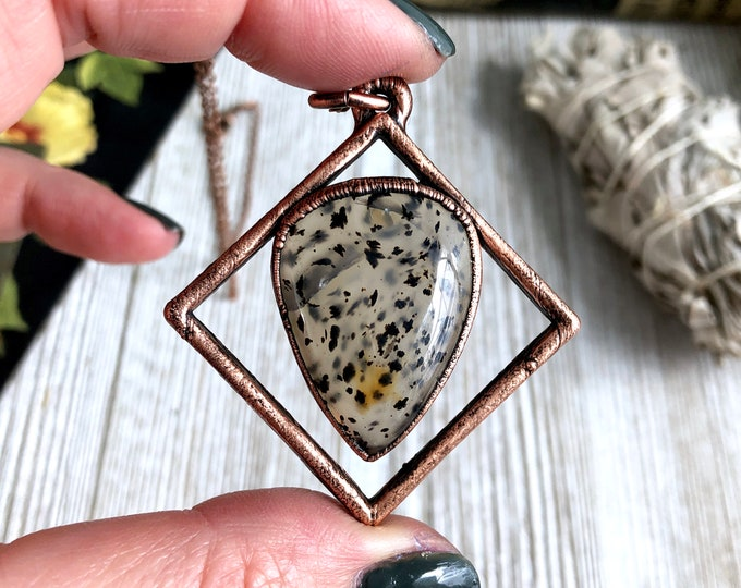 Montana Moss Agate Natural Stone Necklace Pendant