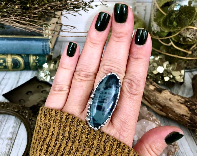 Size 9 Big Natural Spider Web Obsidian Statement Ring in Fine Silver