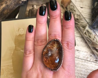 Large Crystal Ring Size 10 / Garden Quartz Ring with Inclusions / Lodolite Quartz Crystal Ring / Gypsy Ring / Crystal Ring / Boho Ring Gift