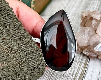 Size Adjustable Mahogany Obsidian Statement Ring Set in Sterling Silver  / Curated by FOXLARK Collection