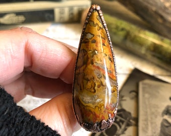 Size 7.5 Petrified Wood Fossilized Palm Wood Ring Natural Stone Ring