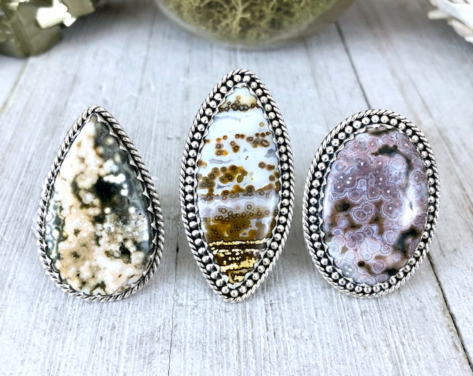Ocean Jasper Statement Ring Set in Sterling Silver / Curated by FOXLARK Collection