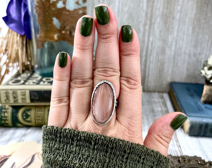 Size 8.5 Peach Moonstone Ring in Silver /  Foxlark Collection - One of a Kind
