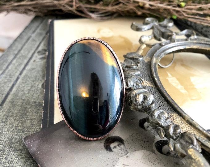 Blue Tigers Eye Ring / Hawk's Eye Ring Crystal Ring / Size 8.5