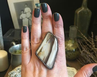 Petrified Wood Ring / Natural Stone Ring / Healing Crystals Copper Electroformed Ring Large Stone Ring 8