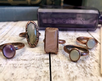 Crystal Ring Amethyst, Prehnite with Epidote, Rose Quartz or Blue Chalcedony Ring / Stone Ring / Gypsy Jewelry / Copper Electroformed Unique