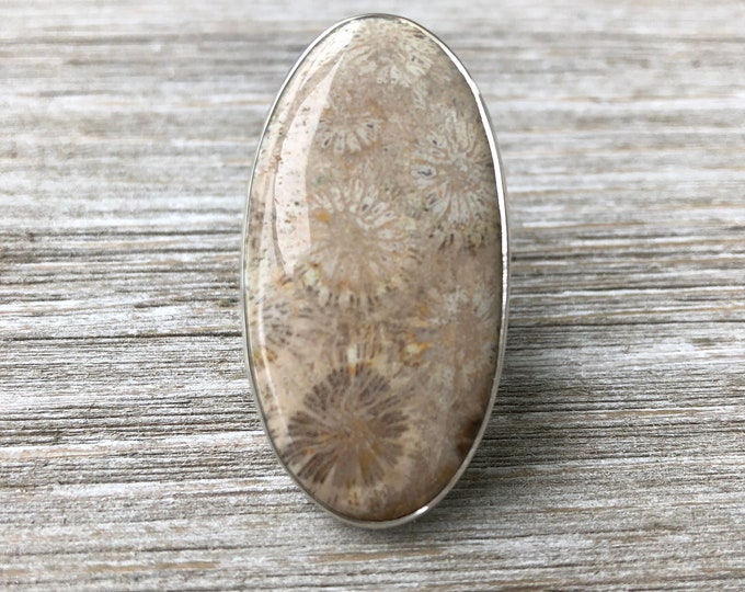 Size 9 Fossilized Coral Statement Ring Set in Sterling Silver / Curated by FOXLARK collection
