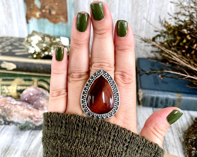 Size 9 Red Tiger Eye Statement Ring Set in Sterling Silver  / Curated by FOXLARK Collection