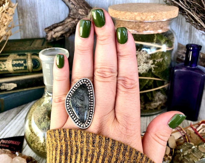 Size 8 Black Tourmaline Quartz Ring Set in Sterling Silver / Curated by FOXLARK collection