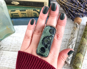 Size 8.5 Kambaba Jasper Ring Large Green Stone Statement Ring