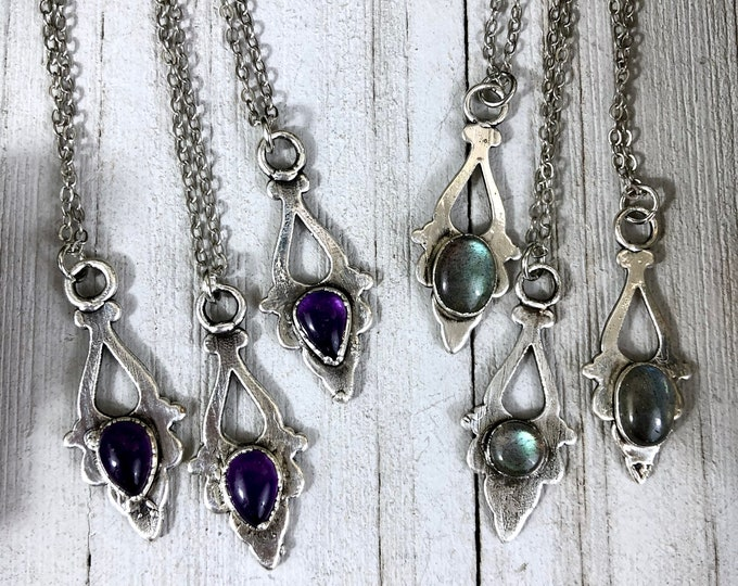 Amethyst or Labradorite Necklace in Silver / Natural Stone Bohemian Jewelry