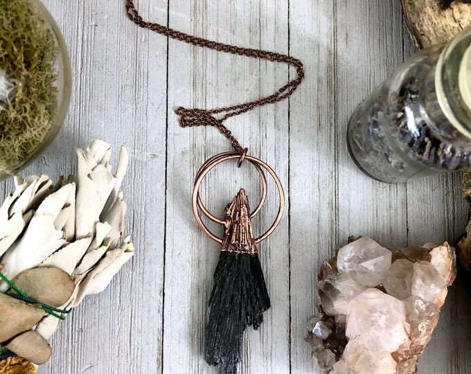 Black Kyanite Necklace / Raw Crystal Witchy Gothic Jewelry
