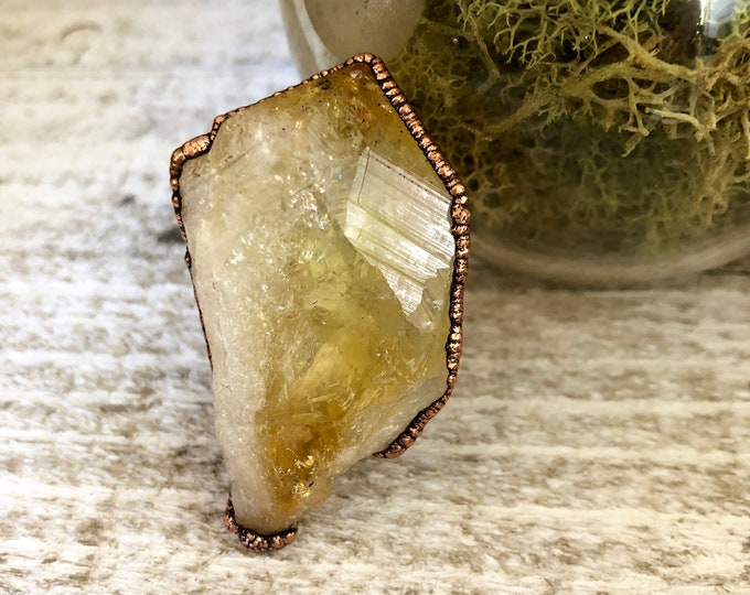 Raw Crystal Ring Size 9 Citrine Ring Rough Yellow Stone  Ring / Crystal Statement Ring Boho Jewelry Copper Electroformed