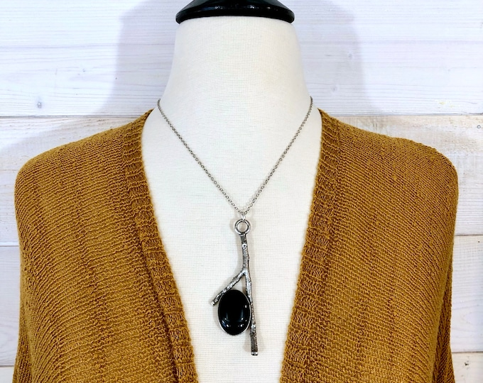 Black Onyx Necklace in Silver / Natural Wood & Stone Necklace Pendant