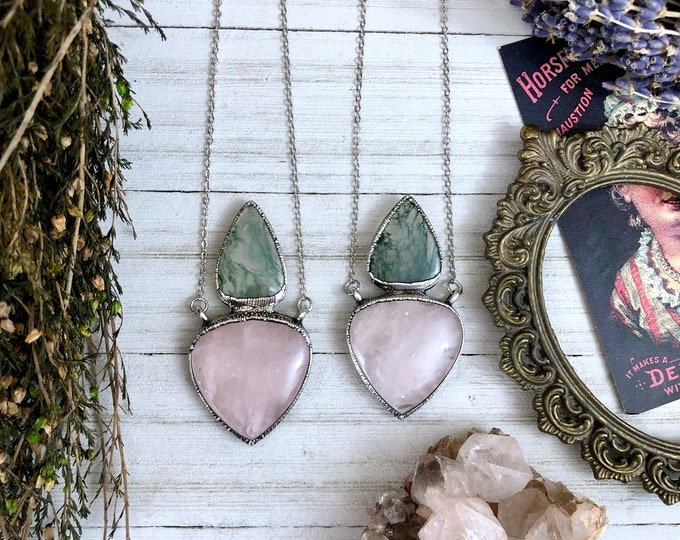 Rose Quartz & Moss Agate Necklace Pendant in Silver