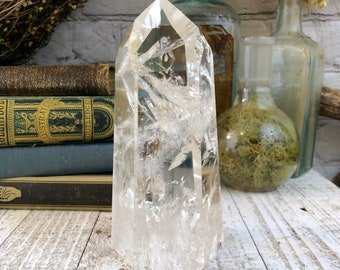 Large Crystal Point Clear Quartz with Rainbows
