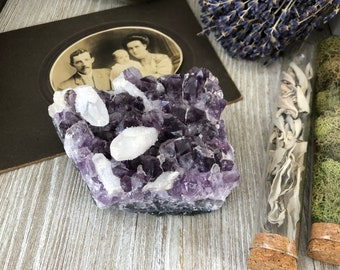 Amethyst and Calcite Crystal Cluster