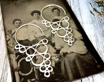 Sterling Silver Long Dangly Geometric Circle Earrings
