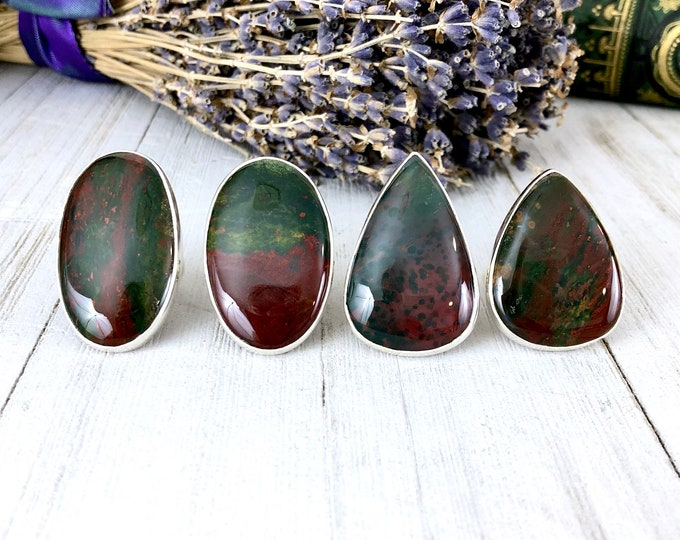 Bloodstone Statement Ring Set in Sterling Silver / Curated by FOXLARK Collection SIZE 6 7 8 9 10