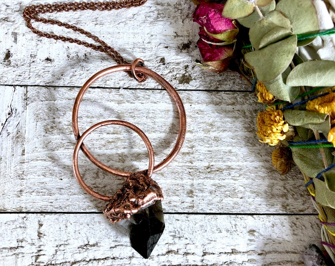 Big Raw Crystal Necklace Pendant Raw Smoky Quartz Necklace