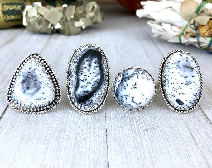 Dendritic Opal Statement Ring Set in Sterling Silver / Curated by FOXLARK Collection
