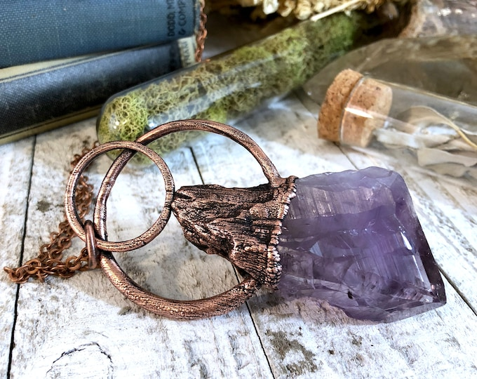 Raw Amethyst Necklace Crystal Statement Necklace