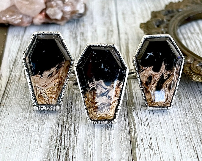 Silver Coffin Ring Black Stone Ring Size 6 7 8 9 10 / Fossilized Palm Root Coffin Jewelry /Gothic Ring For Woman