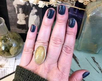 Adjustable size 6-7-8-9 Golden Rutilated Quartz Ring Set in Sterling Silver / Curated by FOXLARK collection