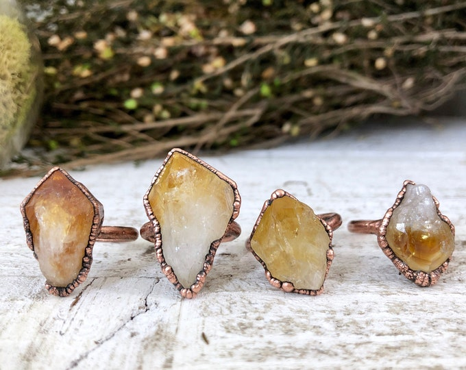 Raw Crystal Ring Citrine Ring Size 7 8 9