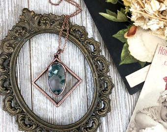 Moss Agate Necklace Natural Crystal Pendant