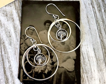 Sterling Silver Earrings / Long Dangly Geometric Tiny Mushroom Earrings with Sterling Silver Hoops for Woman