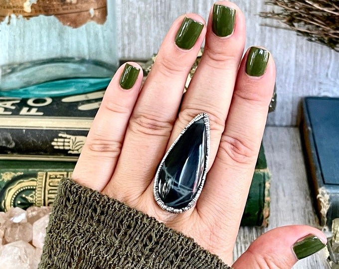 Size 8 Big Natural Spider Web Obsidian Statement Ring in Fine Silver / Large Black and Grey Crystal Ring / Bohemian Silver Stone Jewelry