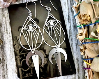 Sterling Silver & Stainless Steel Earrings with Moon and Eye Detail - Long Dangly Geometric Earrings with Sterling Silver Hoops