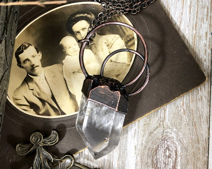 Raw Clear Quartz Crystal Necklace With Graphite Inclusion