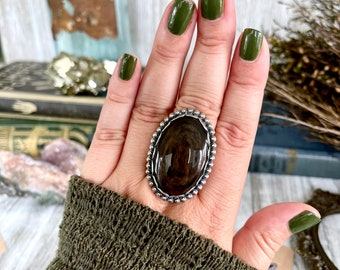 Size 9 Mahogany Sheen Obsidian Statement Ring Set in Sterling Silver  / Curated by FOXLARK Collection