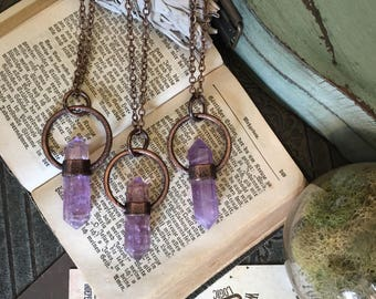 Amethyst Crystal Necklace Pendant / Large Crystal Jewelry