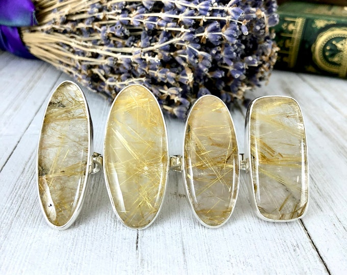Golden Rutile Quartz  Statement Ring Set in Sterling Silver / Curated by FOXLARK Collection SIZE 8 9 10