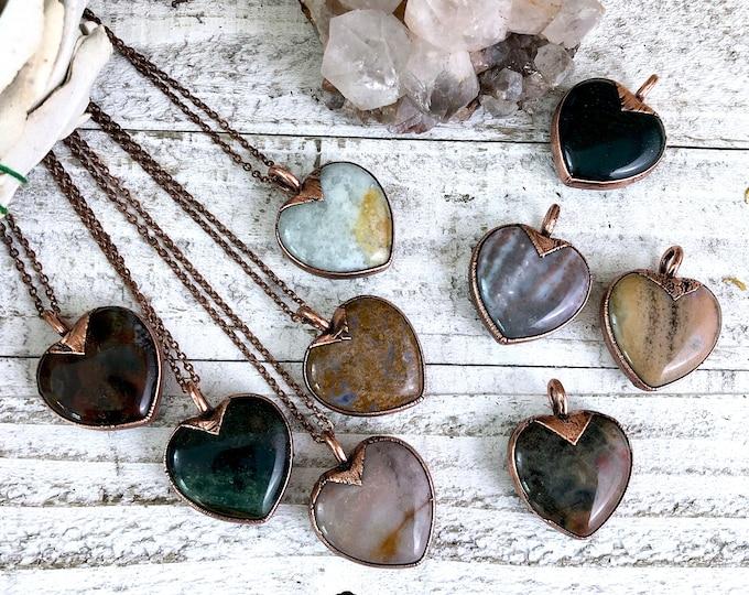 Heart Shaped Jewelry Stone Heart Necklace / Crystal Heart Jewelry Ocean Jasper Necklace Pendant / Bohemian Jewelry Bridesmaid Gift Woman