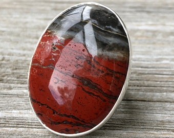 Size 8 Red Jasper Statement Ring Set in Sterling Silver / Curated by FOXLARK collection / Natural Stone Ring