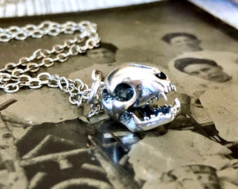 Tiny Talisman Collection - Sterling Silver Cat Skull Necklace Pendant  12x9mm  / Curated  Collection