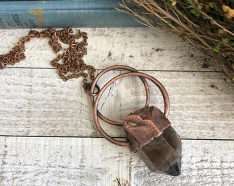 Smoky Quartz Raw Crystal Necklace Pendant /  Big Rough Stone Jewelry