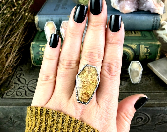 Silver Coffin Ring Stone Ring Size 7 8 9 / Fossilized Coral Coffin Jewelry