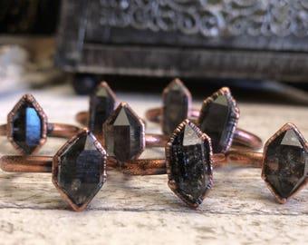 Raw Crystal Ring Raw Tibetan Quartz with Black Graphite Ring