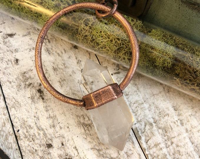 Bohemian Jewelry Clear Quartz Crystal Necklace /